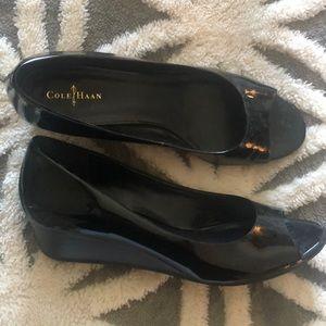 Cole Haan Black patent leather peep toe wedges